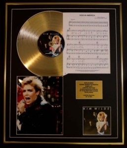 """KIM WILDE"" GOLD LP display SONGSHEET KIDS IN AMERICA + photo"
