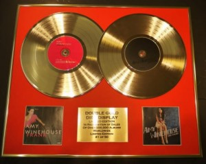 "AMY WINEHOUSE gold LP display FRANK"" & ""BACK TO BLACK"""
