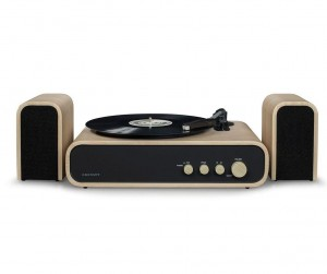 CROSLEY GIG (NATURAL) Retro Belt-Drive Bluetooth Turntable with Aux-in and Speakers