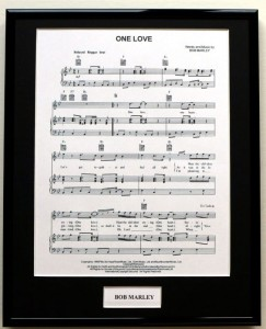 BOB MARLEY & THE WAILERS One Love (song sheet display)